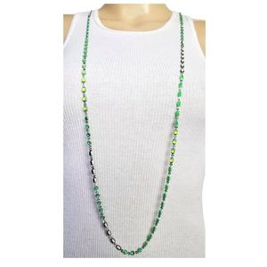 BCBGeneration Long Necklace Silver Tone Green Gem